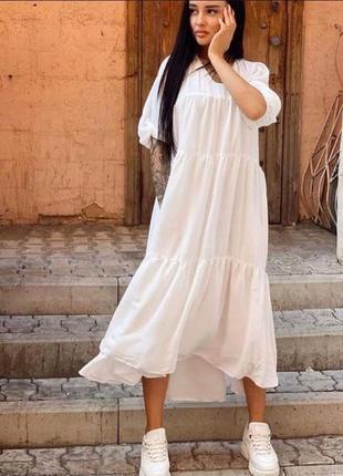 Платье белое летнее воздушное в пол