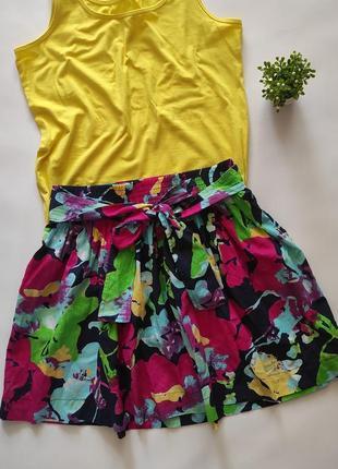Цветная тонкая летняя натуральная юбка на резинке colin's, размер л