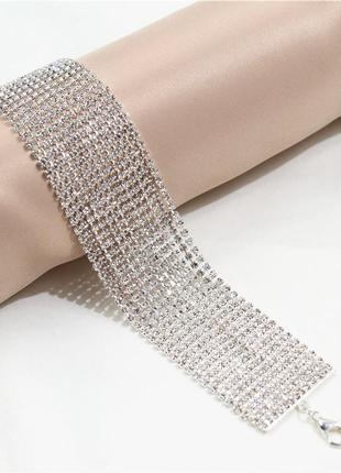 Широкий сверкающий браслет сток icing цена на бирке 29 $ с камнями кристаллами