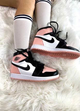 Кроссовки высокие женские розовые nike air jordan pink black