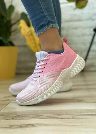 Недные розовые летние женские кроссовки