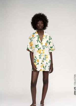 Льняное платье в лимонах zara в наличии есть размеры