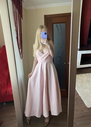 Розовое платье миди zara