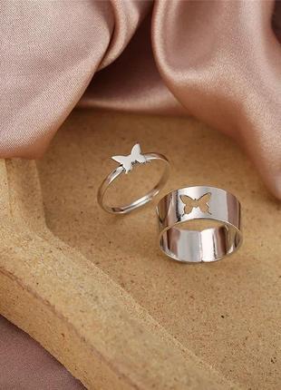 Срібні каблучки, колечки  з метеликами, набор колец , кольцо с бабочкой