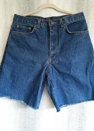 Женские джинсовые шорты, бриджи  с высокой посадкой.  32 размер. 100% коттон.