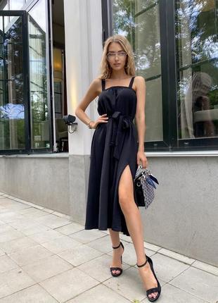 Платье длинное летнее универсальный жатка чёрный