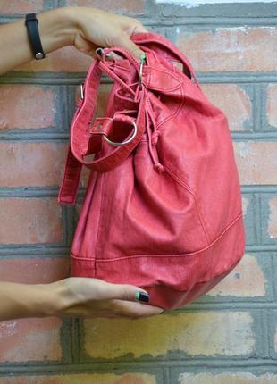 Last price! яркая сумка-мешок арбузного цвета на длинной ручке3 фото