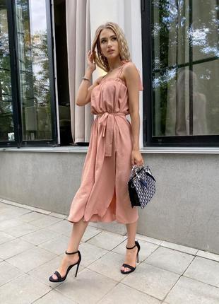 Платье сарафан длинное жатка универсал персик