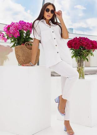 Женский костюм лён штаны и рубашка белый
