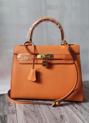 Сумка брендовая оранжевая, сумка шопер