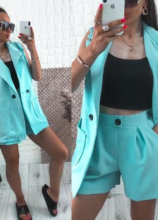 Костюм женский шорты и пиджак без рукавов турция повседневный