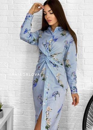 Платье рубашка туника zara morocco в полоску  цветы цветочный принт хлопковая