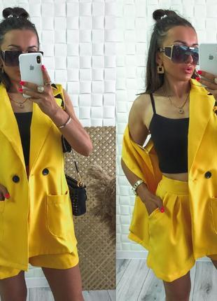 Костюм женский шорты и пиджак без рукавов повседневный турция