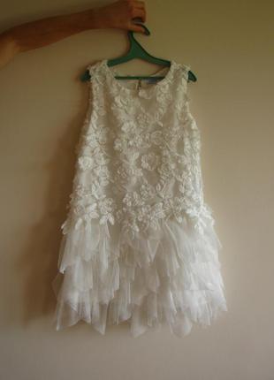 Детское белое платье подростковое нарядное платье підліткове плаття