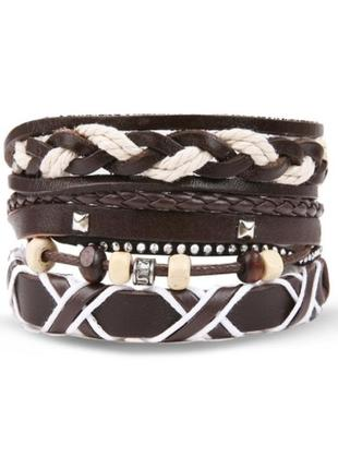 Крутой набор браслетов в стиле бохо еко кожа браслет унисекс