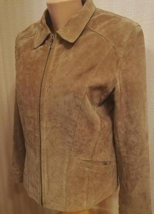 Натуральная замшевая куртка песочного цвета, р.48
