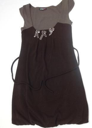 Итальянское платье туника шоколадного цвета с подолом баллон.