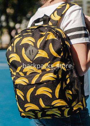 Рюкзак simple з принтом банан 40х30х12 см чорний з жовтим