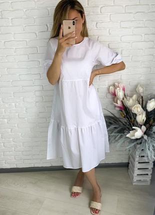 Платье летнее коттон свободное белое