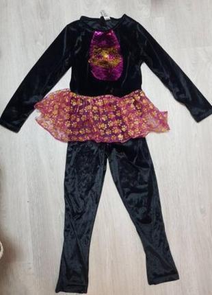 Нарядный карнавальный костюм черная кошка брючный детский велюровый с пайетками