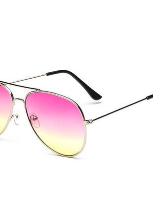 Солнцезащитные очки-авиаторы линза розово-желтый градиент в серебре