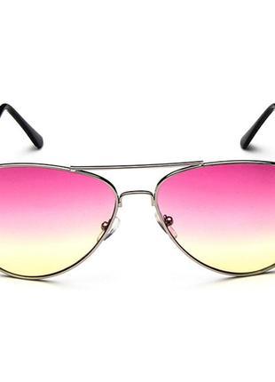 Солнцезащитные очки-авиаторы линза розово-желтый градиент в серебре2 фото