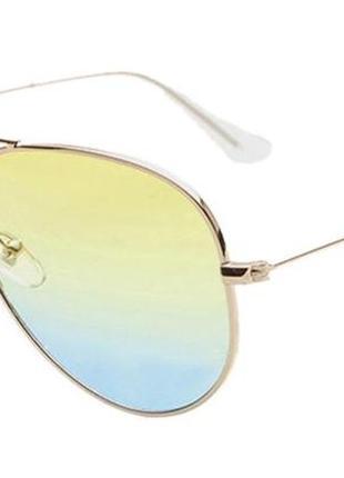 Солнцезащитные очки-авиаторы линза голубо-желтый градиент в серебре