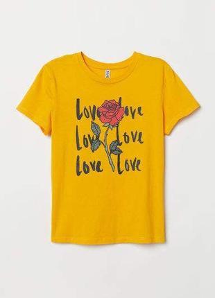 H&m стильная футболка с  надписью