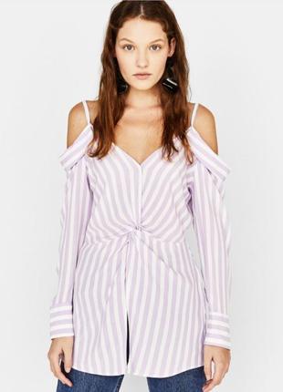 Рубашка блуза лиловая bershka р.s
