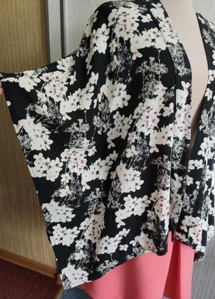 Блузка-рубашка накидка кимоно коттон вискоза