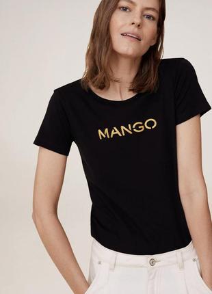 Базовая чёрная футболка mango