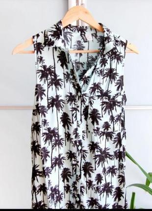 Рубашка поло без рукавов пальмы