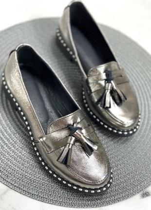 Женские туфли лоферы натуральная кожа loka серебро