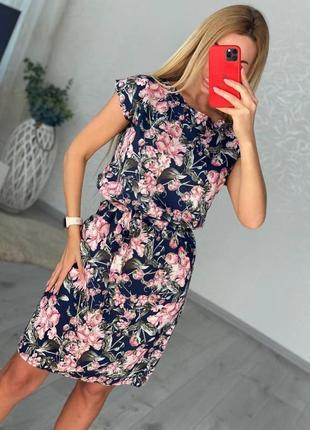 Платье прямого кроя под пояс в цветочный принт