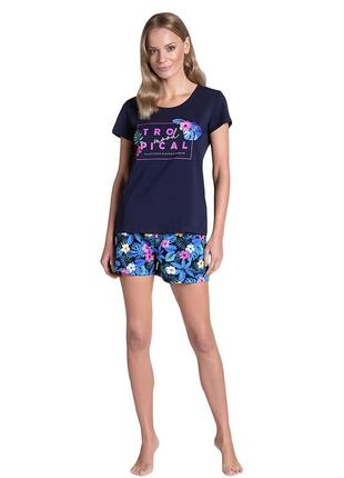 Женская домашняя одежда синего цвета футболка + шорты henderson 38905 tropikana