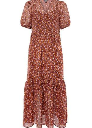 Шифоновое ярусное миди платье в мелкий цветочек