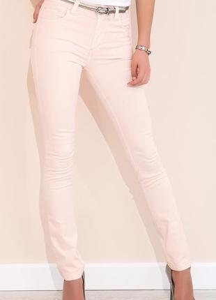 Брюки с карманами летние zaps женские эластичные стрейчевые облегающие персиковые