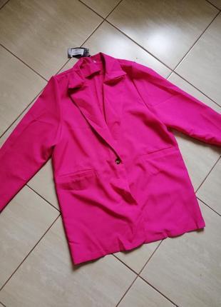 Пиджак жакет фуксия малина розового цвета