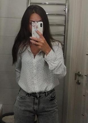 Шикарная белая рубашка в горох