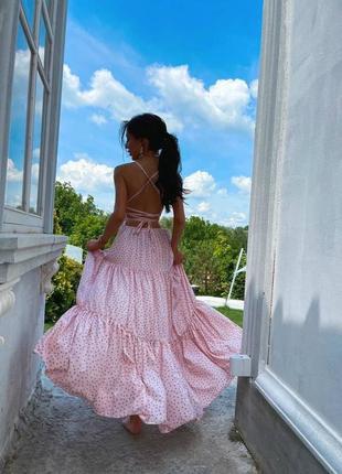 Сарафан макси с открытой спинкой розовый