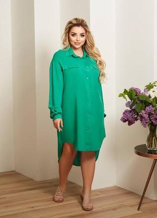 Свободное платье рубашка из штапеля, 48-62