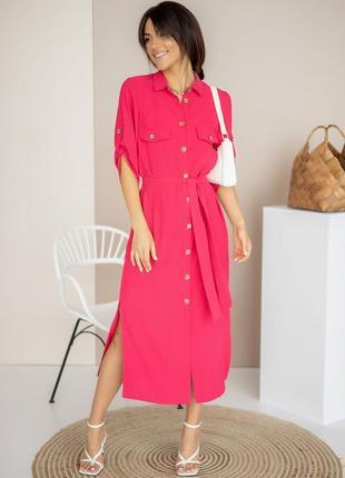 Сукня-сорочка довжини міді з розрізами по боках / платье-рубашка миди с разрезами