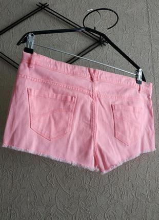 Шорты джинсовые розовые denim 12р, неоновые шорты, бермуды