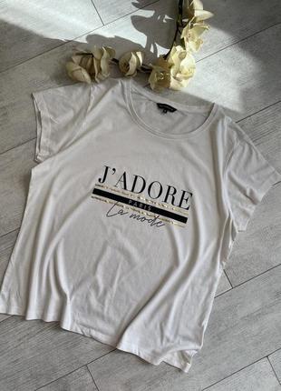 Качественная белая футболка с надписью