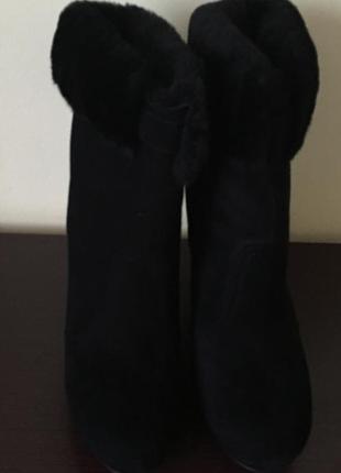 Новые зимние замшевые полусапожки на цигейке braska 41р черные