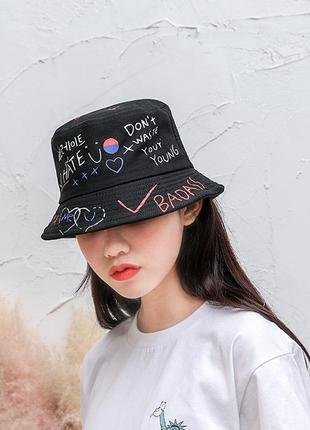 Панама панамка шляпа шапка черная принт хайп качественная новая