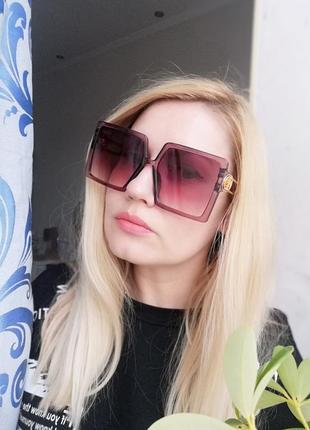 Эксклюзивные брендовые солнцезащитные женские очки квадраты цвет марсала 2021