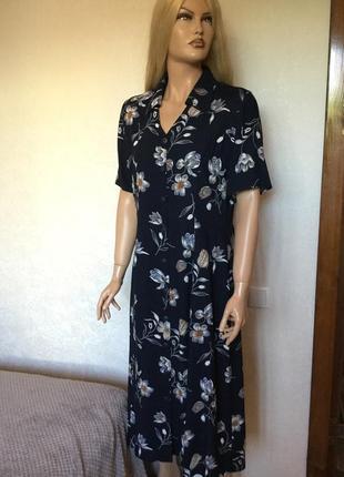 Платье халат миди винтаж 100% вискоза размер 14