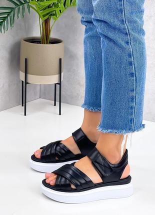 Босоножки шлепанцы боссоножки сандалии чёрные натуральная кожа5 фото
