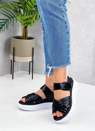 Босоножки шлепанцы боссоножки сандалии чёрные натуральная кожа3 фото
